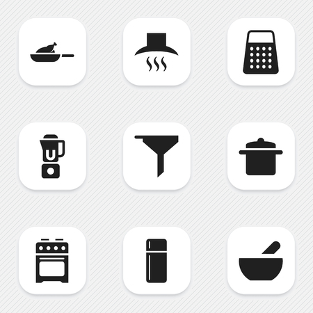 Set Of 9 Editable Food Icons. Includes Symbols Such As Soup, Grill, Filtering And More. Can Be Used For Web, Mobile, UI And Infographic Design.
