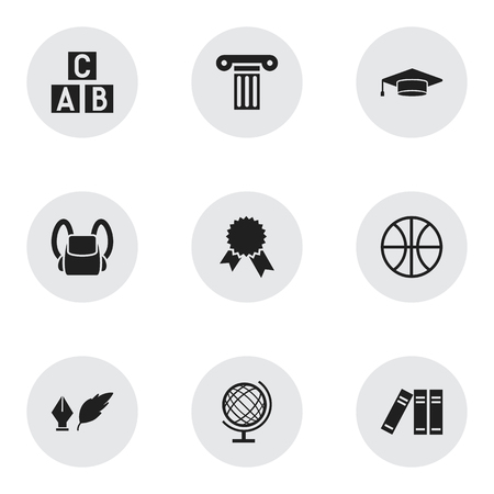Set Of 9 Editable University Icons. Includes Symbols Such As Victory Medallion, Schoolbag, Earth Planet And More. Can Be Used For Web, Mobile, UI And Infographic Design. Illustration