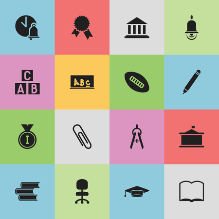 Set Of 16 Editable Graduation Icons. Includes Symbols Such As Alarm Bell, First Place, Univercity And More. Can Be Used For Web, Mobile, UI And Infographic Design. Illustration