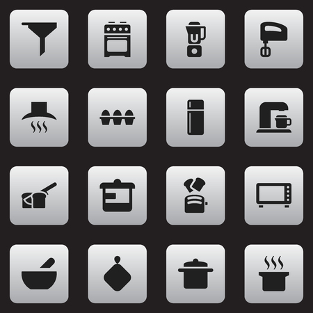 Set Of 16 Editable Cook Icons. Includes Symbols Such As Filtering, Kitchen Hood, Soup And More. Can Be Used For Web, Mobile, UI And Infographic Design. Illustration