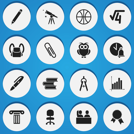 Set Of 16 Editable University Icons. Includes Symbols Such As School Bell, Math Tool, Math Root And More. Can Be Used For Web, Mobile, UI And Infographic Design.