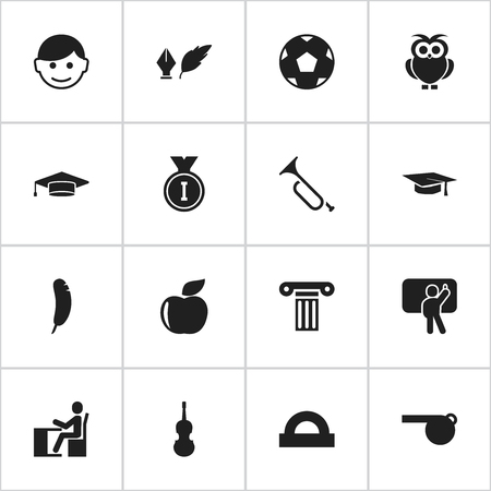 Set Of 16 Editable School Icons. Includes Symbols Such As Semicircle Ruler, Pillar, Feather And More. Can Be Used For Web, Mobile, UI And Infographic Design.