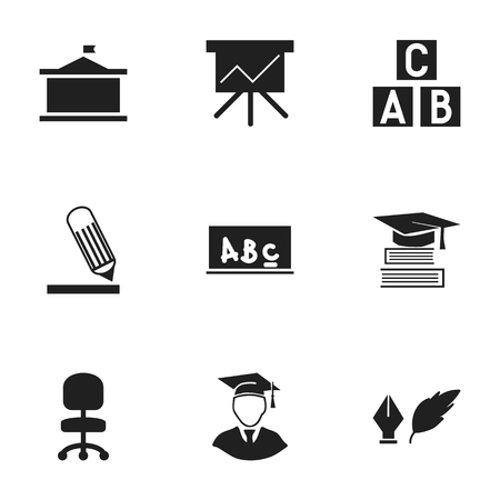 Set Of 9 Editable Graduation Icons. Includes Symbols Such As Alphabet Cube, Work Seat, Writing And More. Can Be Used For Web, Mobile, UI And Infographic Design. Illustration