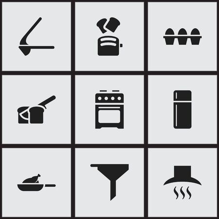 Set Of 9 Editable Meal Icons. Includes Symbols Such As Crusher, Egg Carton, Grill And More. Can Be Used For Web, Mobile, UI And Infographic Design.