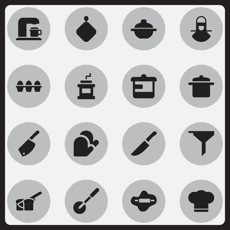 Set Of 16 Editable Cook Icons. Includes Symbols Such As Filtering, Knife Roller, Cook Cap And More. Can Be Used For Web, Mobile, UI And Infographic Design. Illustration