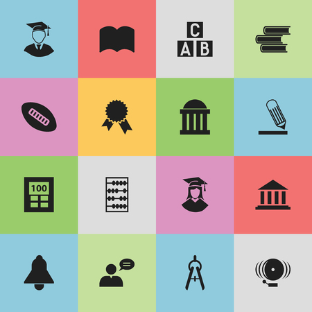 baccalaureate: Set Of 16 Editable Science Icons. Includes Symbols Such As Thinking Man, Writing, Courtroom And More. Can Be Used For Web, Mobile, UI And Infographic Design.