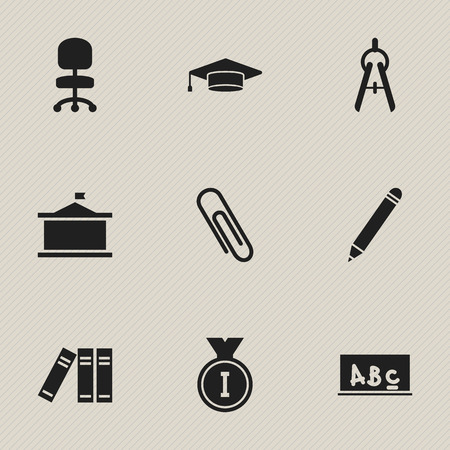 Set Of 9 Editable School Icons. Includes Symbols Such As First Place, Math Tool, Graduate And More. Can Be Used For Web, Mobile, UI And Infographic Design.