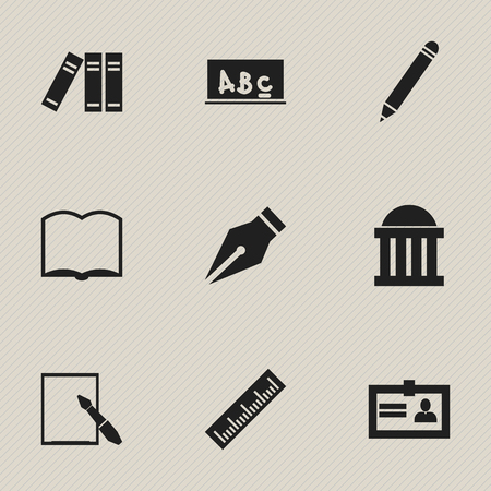 Set Of 9 Editable School Icons. Includes Symbols Such As School Board, Book, Courtroom And More. Can Be Used For Web, Mobile, UI And Infographic Design.