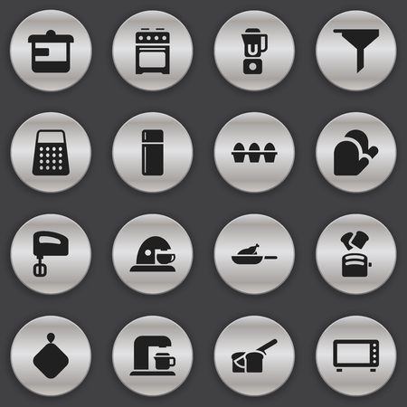Set Of 16 Editable Cooking Icons. Includes Symbols Such As Utensil, Cup, Kitchen Glove And More. Can Be Used For Web, Mobile, UI And Infographic Design.