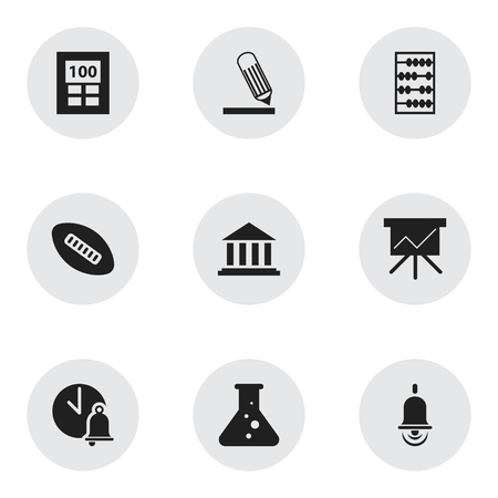 Set Of 9 Editable University Icons. Includes Symbols Such As Oval Ball, Arithmetic, Alarm Bell And More. Can Be Used For Web, Mobile, UI And Infographic Design. Illustration