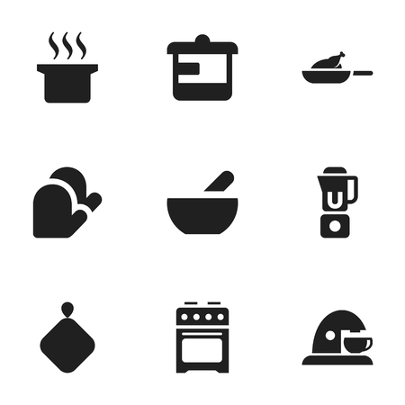 originator: Set Of 9 Editable Food Icons. Includes Symbols Such As Stove, Utensil, Cup And More. Can Be Used For Web, Mobile, UI And Infographic Design. Illustration