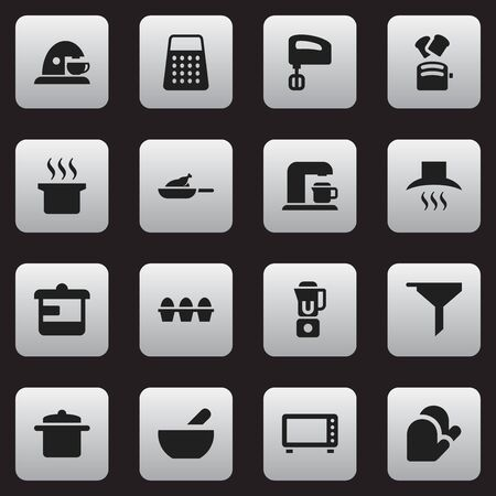 Set Of 16 Editable Cook Icons. Includes Symbols Such As Slice Bread, Soup Pot, Shredder And More. Can Be Used For Web, Mobile, UI And Infographic Design.