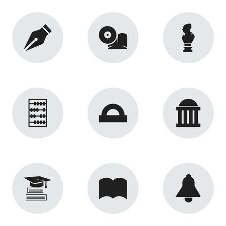 Set Of 9 Editable Education Icons. Includes Symbols Such As Bell, Nib, Semicircle Ruler And More. Can Be Used For Web, Mobile, UI And Infographic Design.