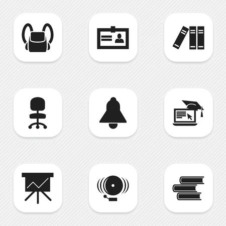 Ensemble de 9 icônes d'éducation modifiables. Comprend des symboles tels que l?apprentissage à distance, Bell, Ring, etc. Peut être utilisé pour la conception Web, mobile, UI et infographique. Vecteurs