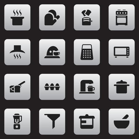 Set Of 16 Editable Cook Icons. Includes Symbols Such As Filtering, Cup, Egg Carton And More. Can Be Used For Web, Mobile, UI And Infographic Design.