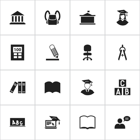 univercity: Set Of 16 Editable Graduation Icons. Includes Symbols Such As School Board, Univercity, Graduated Female And More. Can Be Used For Web, Mobile, UI And Infographic Design. Illustration