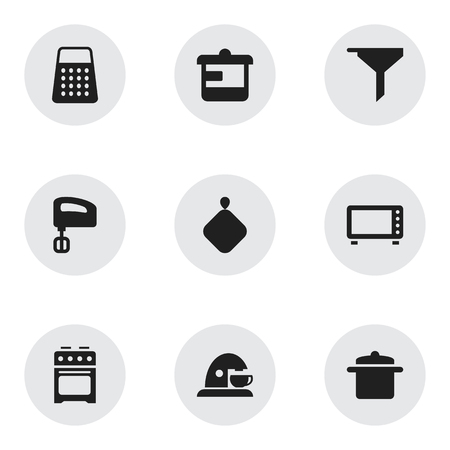 Set Of 9 Editable Cook Icons. Includes Symbols Such As Stove, Filtering, Shredder And More. Can Be Used For Web, Mobile, UI And Infographic Design.