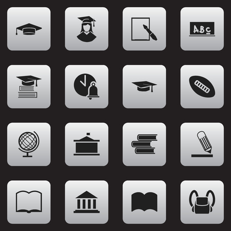 Ensemble de 16 icônes de l'éducation modifiables. Comprend des symboles tels que livre, dictionnaire, musée, etc. Peut être utilisé pour Web, Mobile, UI et conception infographique.