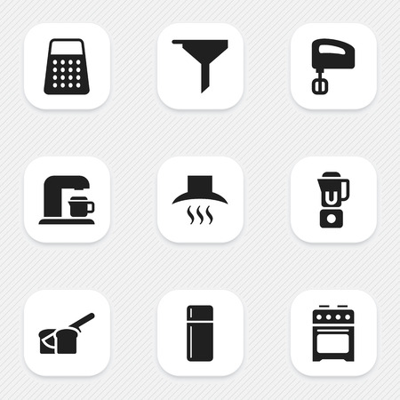 aeration: Set Of 9 Editable Meal Icons. Includes Symbols Such As Kitchen Hood, Bakery, Filtering And More. Can Be Used For Web, Mobile, UI And Infographic Design.