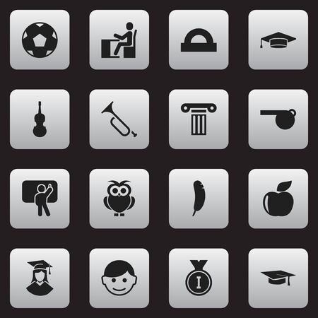 Set Of 16 Editable Education Icons. Includes Symbols Such As Night Fowl, Teacher, Scholar And More. Can Be Used For Web, Mobile, UI And Infographic Design. Illustration