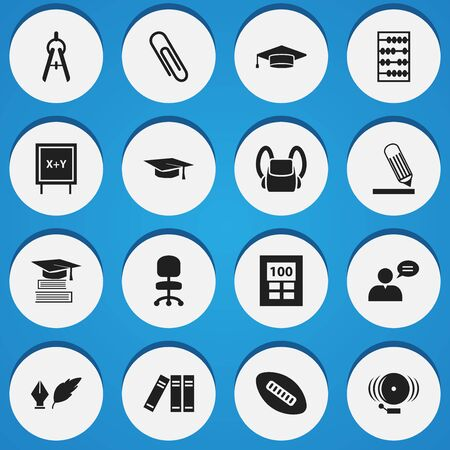 Set Of 16 Editable University Icons. Includes Symbols Such As Thinking Man, Math Tool, Schoolbag And More. Can Be Used For Web, Mobile, UI And Infographic Design.