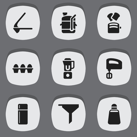 Set Of 9 Editable Meal Icons. Includes Symbols Such As Paprika, Filtering, Crusher And More. Can Be Used For Web, Mobile, UI And Infographic Design. Illustration