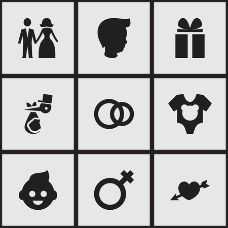 Set Of 9 Editable Folks Icons. Includes Symbols Such As Love, Baby, Gift And More. Can Be Used For Web, Mobile, UI And Infographic Design.