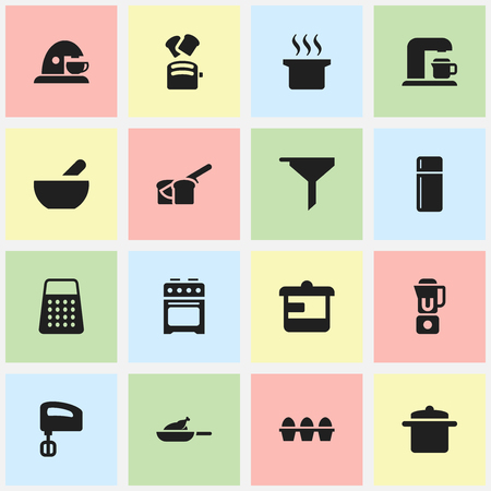 originator: Set Of 16 Editable Meal Icons. Includes Symbols Such As Soup Pot, Soup, Hand Mixer. Can Be Used For Web, Mobile, UI And Infographic Design.