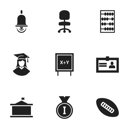 편집 가능한 9 졸업 아이콘의 집합입니다. 알람 벨, 칠판, 타원형 볼 등의 기호가 포함됩니다. 웹, 모바일, UI 및 인포 그래픽 디자인에 사용할 수 있습니