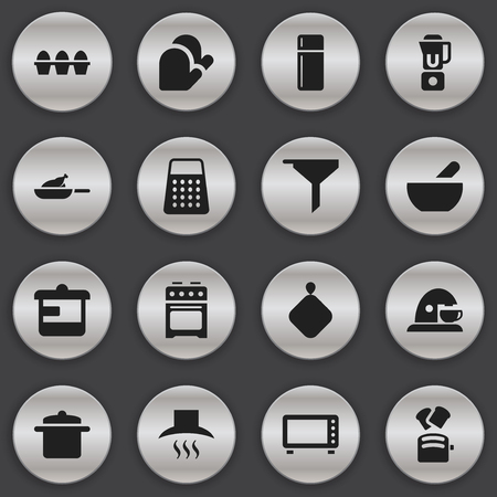 originator: Set Of 16 Editable Cooking Icons. Includes Symbols Such As Kitchen Hood, Slice Bread, Utensil And More. Can Be Used For Web, Mobile, UI And Infographic Design. Illustration