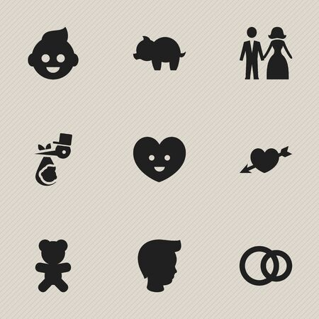 Set Of 9 Editable Relatives Icons. Includes Symbols Such As Love, Child, Baby And More. Can Be Used For Web, Mobile, UI And Infographic Design. Illustration