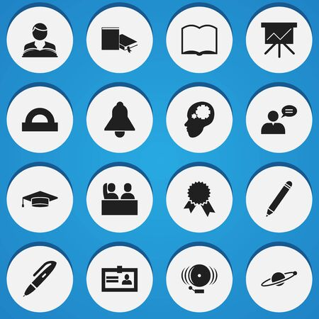 Set Of 16 Editable University Icons. Includes Symbols Such As Semicircle Ruler, Creative Idea, Bookmark And More. Can Be Used For Web, Mobile, UI And Infographic Design. Illustration