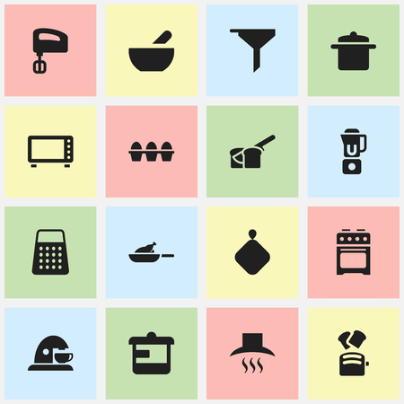 originator: Set Of 16 Editable Meal Icons. Includes Symbols Such As Grill, Bakery, Agitator And More. Can Be Used For Web, Mobile, UI And Infographic Design. Illustration