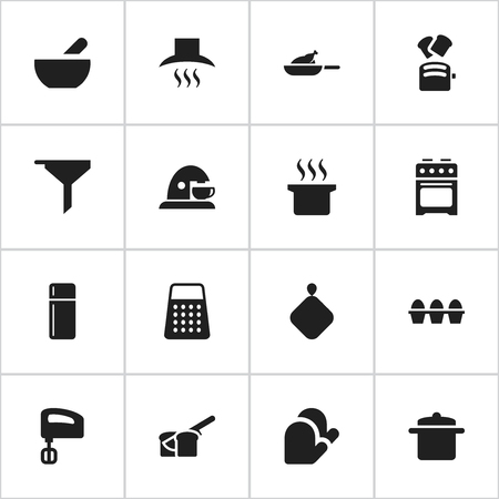originator: Set Of 16 Editable Cooking Icons. Includes Symbols Such As Shredder, Soup, Agitator And More. Can Be Used For Web, Mobile, UI And Infographic Design. Illustration