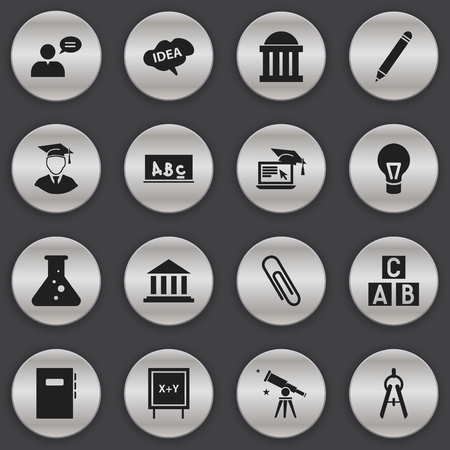 baccalaureate: Set Of 16 Editable School Icons. Includes Symbols Such As Chemistry, Math Tool, Pencil And More. Can Be Used For Web, Mobile, UI And Infographic Design. Illustration