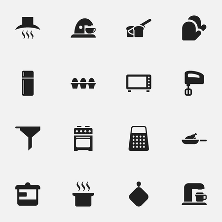 originator: Set Of 16 Editable Cook Icons. Includes Symbols Such As Bakery, Soup Pot, Drink Maker And More. Can Be Used For Web, Mobile, UI And Infographic Design. Illustration