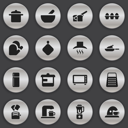 aeration: Set Of 16 Editable Cook Icons. Includes Symbols Such As Grill, Shredder, Soup And More. Can Be Used For Web, Mobile, UI And Infographic Design.