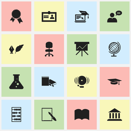 baccalaureate: Set Of 16 Editable Science Icons. Includes Symbols Such As Bookmark, Distance Learning, Work Seat And More. Can Be Used For Web, Mobile, UI And Infographic Design.
