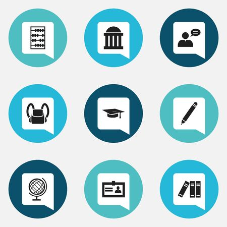 Set Of 9 Editable University Icons. Includes Symbols Such As Thinking Man, Graduation Hat, Courtroom And More. Can Be Used For Web, Mobile, UI And Infographic Design. Ilustração