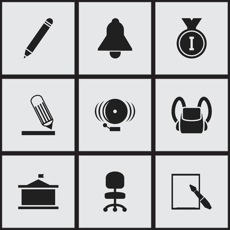 baccalaureate: Set Of 9 Editable School Icons. Includes Symbols Such As First Place, Writing, Bell And More. Can Be Used For Web, Mobile, UI And Infographic Design. Illustration