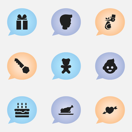 Set Of 9 Editable Folks Icons. Includes Symbols Such As Baby, Love, Child And More. Can Be Used For Web, Mobile, UI And Infographic Design. Ilustração
