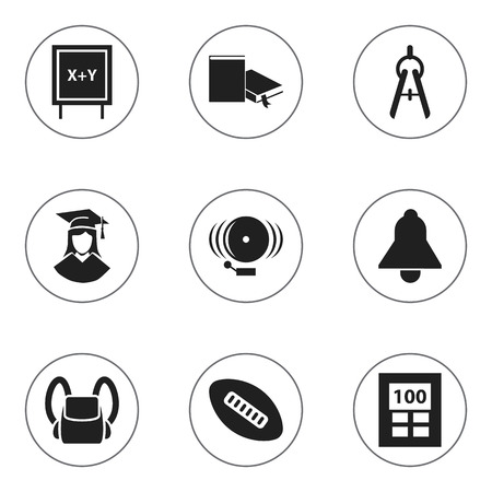 Set Of 9 Editable Science Icons. Includes Symbols Such As Bookmark, Schoolbag, Math Tool And More. Can Be Used For Web, Mobile, UI And Infographic Design.