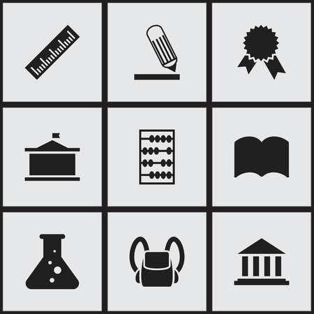 Set Of 9 Editable Education Icons. Includes Symbols Such As Dictionary, Museum, Victory Medallion And More. Can Be Used For Web, Mobile, UI And Infographic Design.