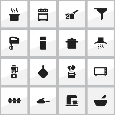 Set Of 16 Editable Food Icons. Includes Symbols Such As Oven, Grill, Refrigerator And More. Can Be Used For Web, Mobile, UI And Infographic Design. Illustration
