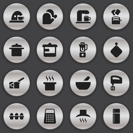 originator: Set Of 16 Editable Cook Icons. Includes Symbols Such As Drink Maker, Utensil, Egg Carton And More. Can Be Used For Web, Mobile, UI And Infographic Design. Illustration