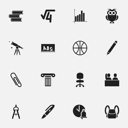 Set Of 16 Editable University Icons. Includes Symbols Such As Math Root, Library, Schoolbag And More. Can Be Used For Web, Mobile, UI And Infographic Design. Illustration