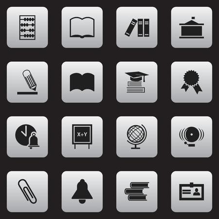 Ensemble de 16 icônes de science modifiables. Comprend des symboles tels que l'écriture, la certification, la bibliothèque, etc. Peut être utilisé pour Web, Mobile, UI et conception infographique. Vecteurs