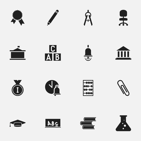 Set Of 16 Editable Graduation Icons. Includes Symbols Such As Univercity, Library, School Board And More. Can Be Used For Web, Mobile, UI And Infographic Design. Illustration