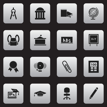 Set Of 16 Editable Education Icons. Includes Symbols Such As Univercity, Staple, Courtroom And More. Can Be Used For Web, Mobile, UI And Infographic Design.