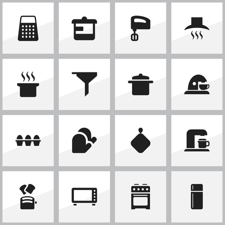 Set Of 16 Editable Meal Icons. Includes Symbols Such As Egg Carton, Slice Bread, Kitchen Hood And More. Can Be Used For Web, Mobile, UI And Infographic Design. Çizim